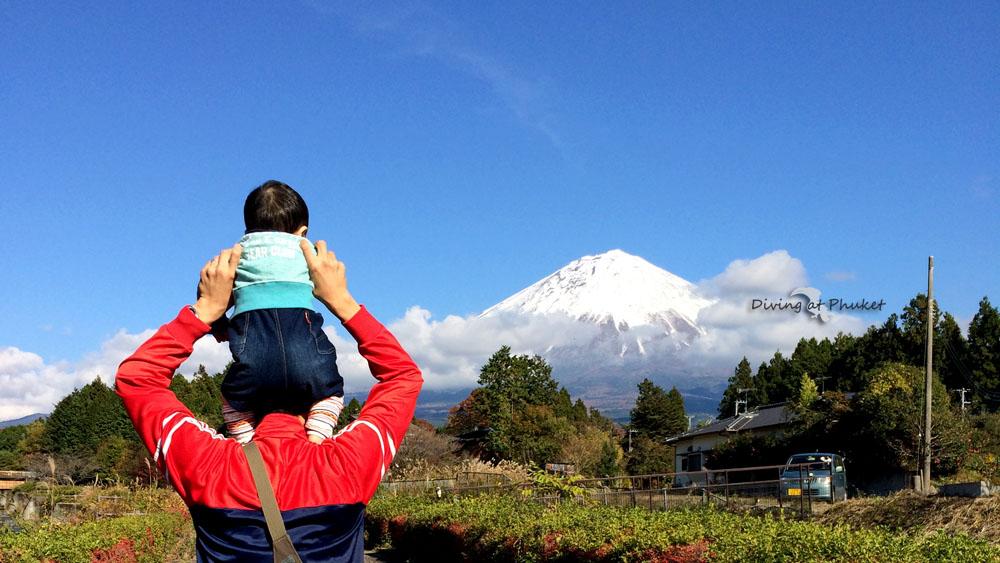 富士山と息子